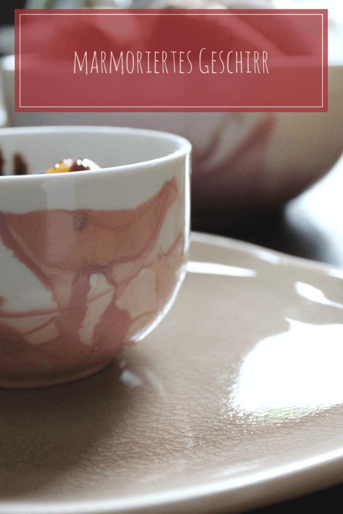 marmoriertes Geschirr, Geschenkidee, Upcycling mit Nagellack