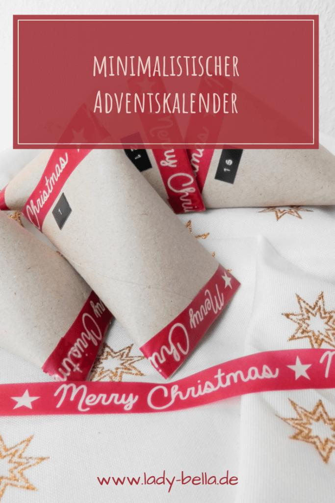minimalistischer Adventskalender aus Toilettenpapierrolle Washitape und Beschriftung