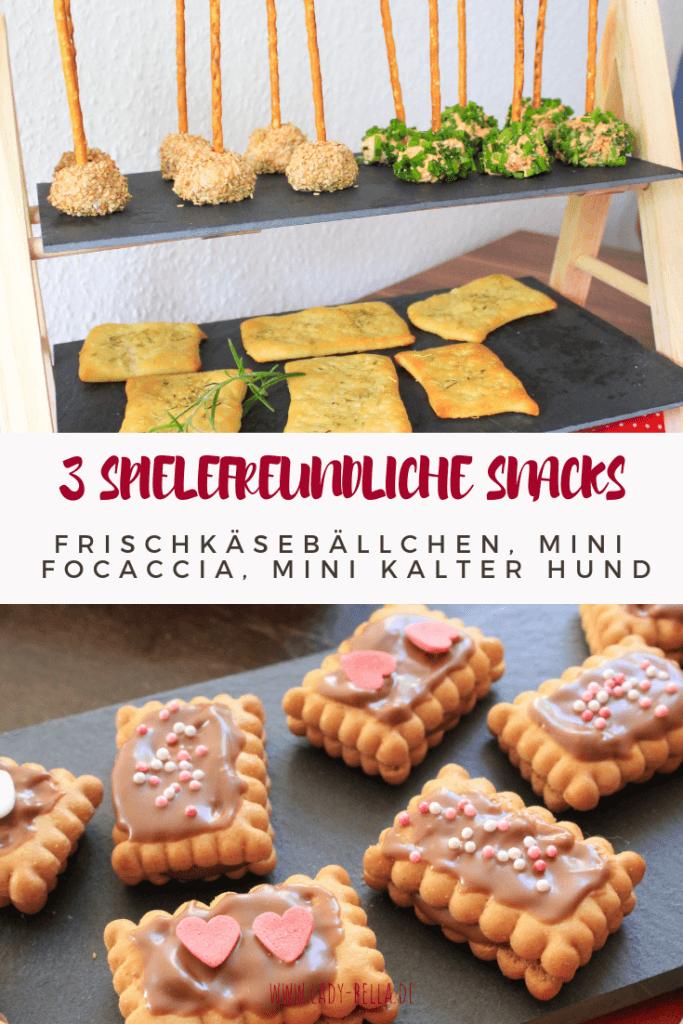 spielefreundliche Snacks Frischkäsebällchen, Mini Focaccia. Mini kalter Hund, mit Amigo