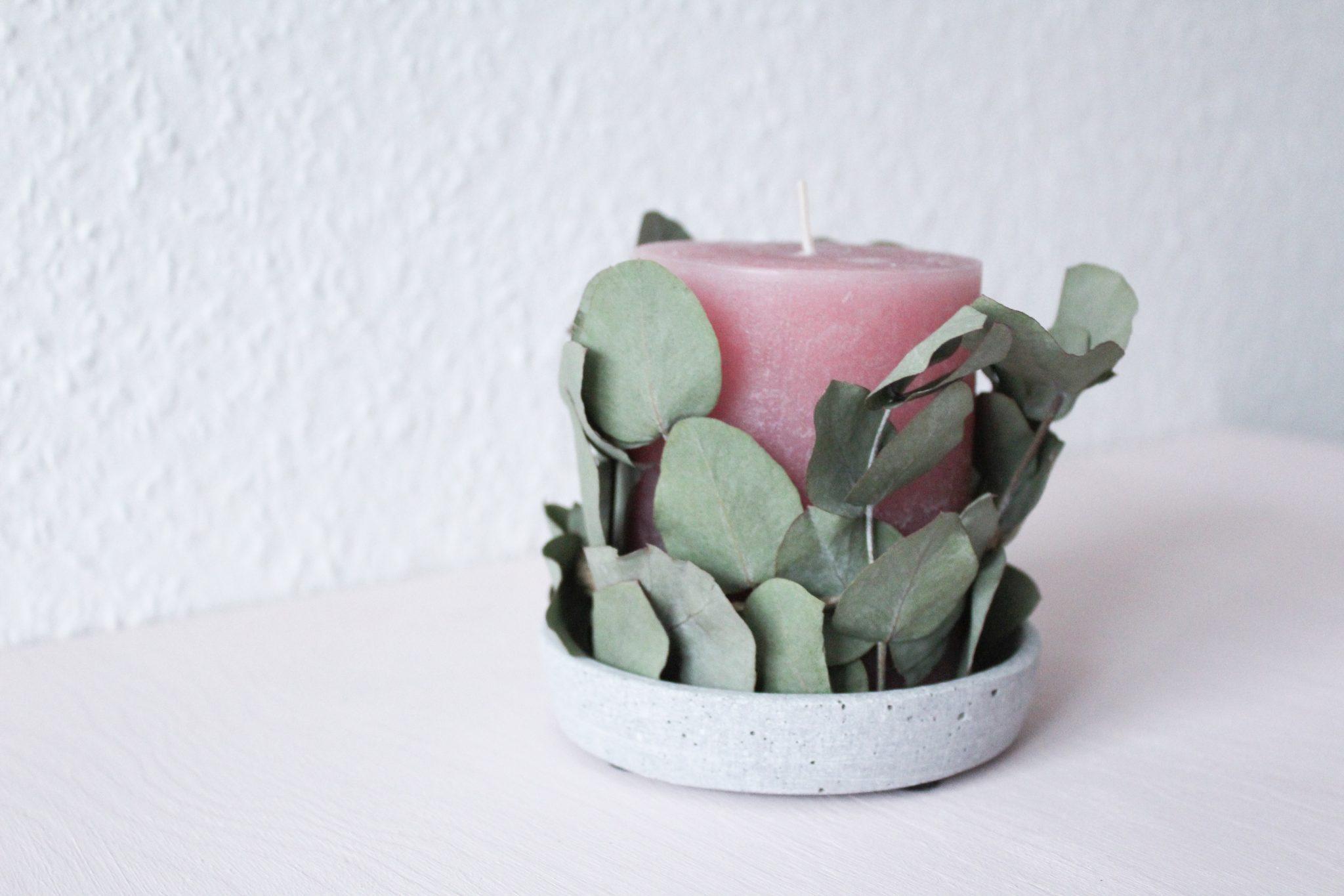 DIY Kerze mit Beton und Eukalyptus