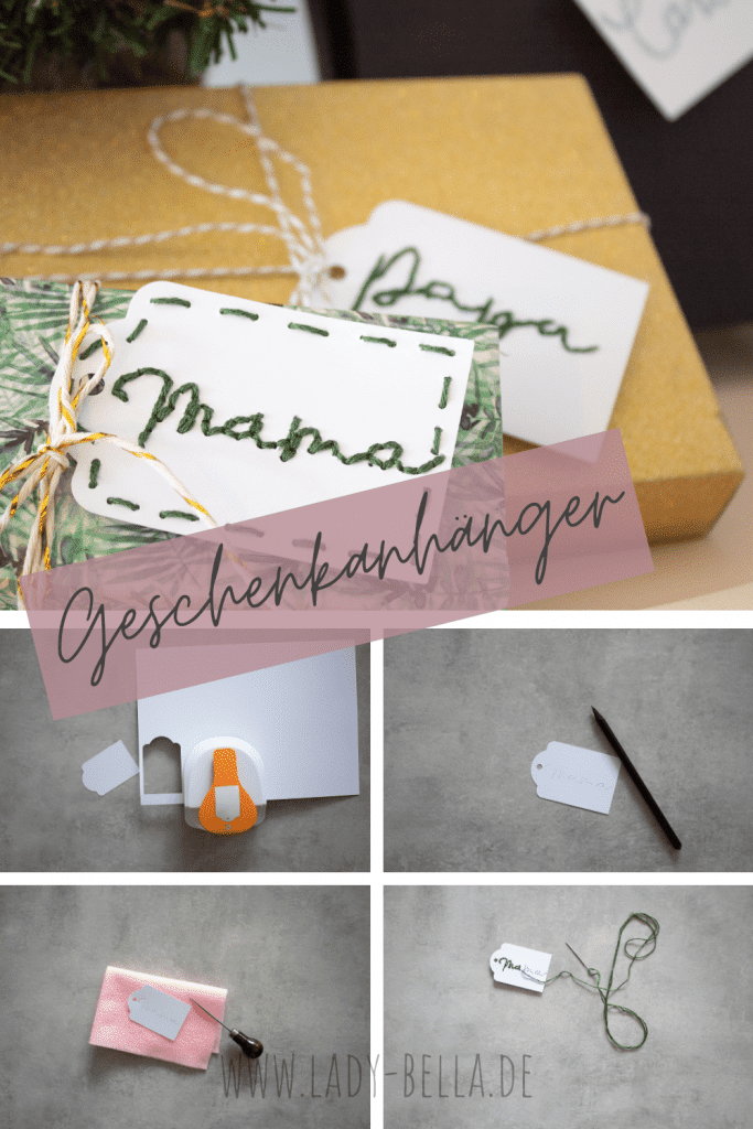DIY individuell bestickte Geschenkanhänger zum selber machen von Lady Bella