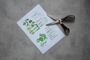 Wichtelgeschenk für Pflanzenfreunde, selbstbewässerungs Pflanztopf von Lechuza mit Watercolor Geschenkanhängern