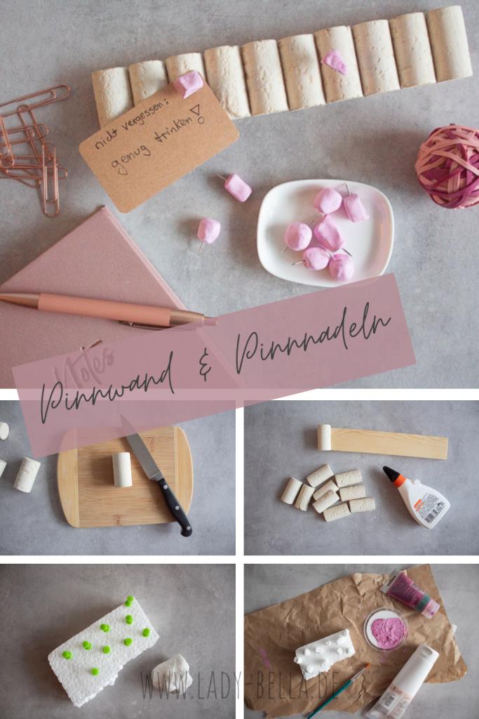 Upcycling Anleitung für eine Mini-Pinnwand aus alten Weinkorken mit Pinnadeln aus lufttrocknender Modelliermasse